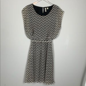 Gently Used Cream and Black striped belted dress